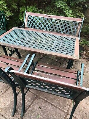 Cast Iron and Wood Garden Table, Bench and Two Chairs