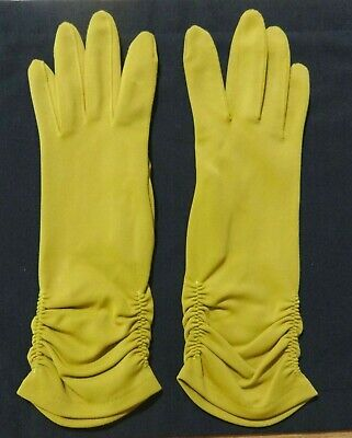 """Pair of vintage Gold long Women's Gloves -Size 7.5 or 3"""" across knuckles - Nylon"""