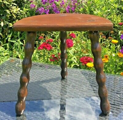 French OAK Milking Stool 3 LEGS BOBBIN SPINDLE Legged HALF MOON Charming