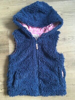 Girl's Gillet Body Warmer From Mini Boden Size 11-12 Years Blue Fake Fur