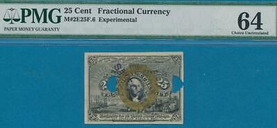 25  CENT 2nd  ISSUE  MILTON #2E25F.6  EXPERIMENTAL  PMG CH. NEW 64 FREE SHIP