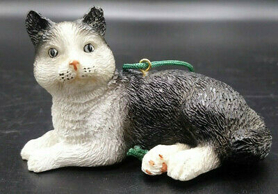 Resin Black And White Cat Ornament