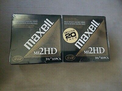 MAXELL 2HD3.5 Floppy Disks: Formatted IBM  2  x 10 Packs  NEW Sealed 20 Disks!