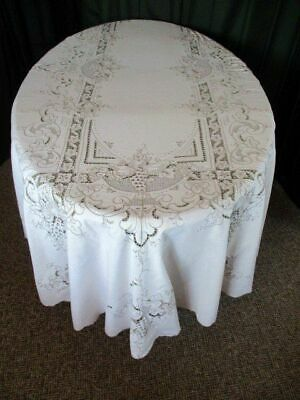 """VINTAGE MADEIRA TABLECLOTH-HAND EMBROIDERED FRIUT-BEAUTIFUL-62""""x98"""""""