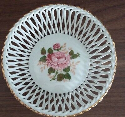 Apulum Fine Porcelain Small Basketweave Bowl Handpainted With Rose pattern