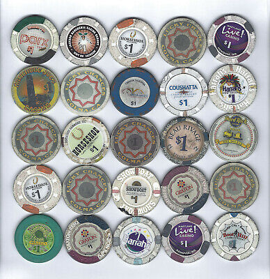 5. Lot Of 25 $1.00 Face Casino Chips Ca, Md, Ks, In, Other / Total $25 Face