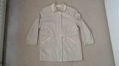 Marks & Spencer Size 12 Women's Jacket / Coat Beige With Cream Trim (M&S)