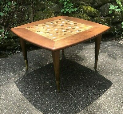 Vintage Mid Century Modern Murano (?) Glass Tile Top Side End Table