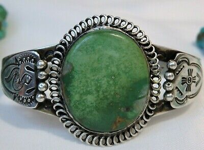 Fred Harvey Era HOPI Natural CERRILLOS TURQUOISE Coin SILVER SNAKE totem CUFF 🐍