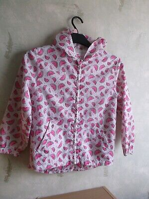 Girl`s (Tu) White With Pink  Mellon Slices Zip Up  Jacket  Age 7-8 Year`s.