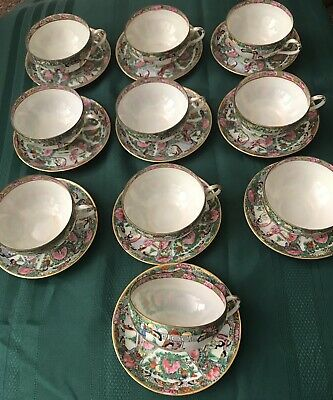Vintage Famille Rose Medallion 10 Cups And Saucers