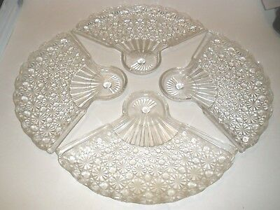 """(4) Antique Glass Snack Plates 7.5"""" x 10.5"""" PERFECT CONDITION"""