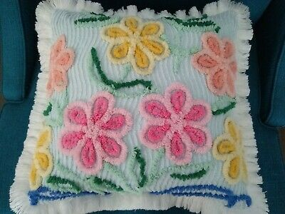 Vintage Chenille Bedspread Pillow Blue W/ Large Bright Flowers 16""