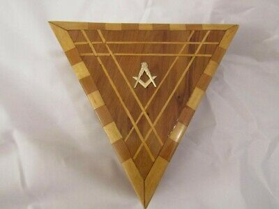 Unusual Triangle Wooden Marquetry Box With  Masonic Square & Compass. Stash Box.