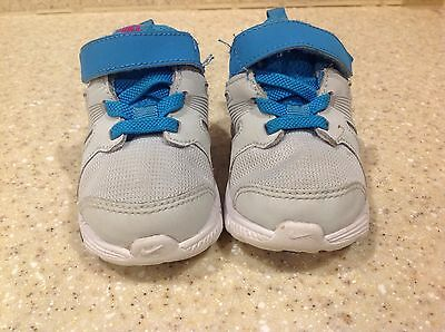 Nike Dart 10 Child Light Gray/Blue, Pink Swoosh Athletic Shoe Sz.5C