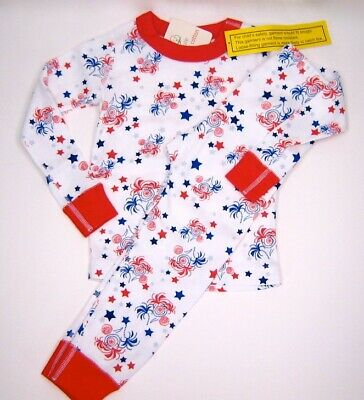 New NWT Hanna Andersson Long John Pajamas Stars & Stripes July 4th 100 3T 4T