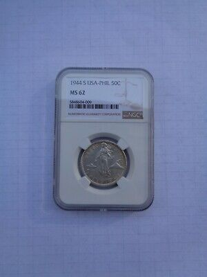 US Philippine CoinFifty Centavos1944 S - Silver - NGC Slab - MS 62 #B