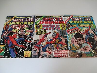 3x Vintage Comics GIANT-SIZE SPIDER-MAN Issues 1, 2, & 3 Bronze Age 1974 AMAZING