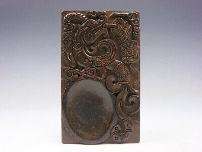 Vintage Nephrite Jade Stone Ink Slab Shaped Paperweight Pi-Xiu & Coins #06151905