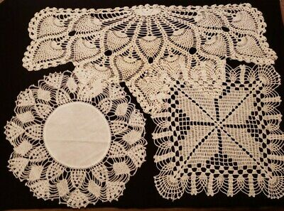 Three Vintage Ivory & white Hand Crocheted Doilies