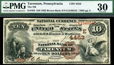 HGR SUNDAY 1882 $10 TARENTUM PA Brown Back (X-Rare UNIQUE 1 Known) PMG VF-30