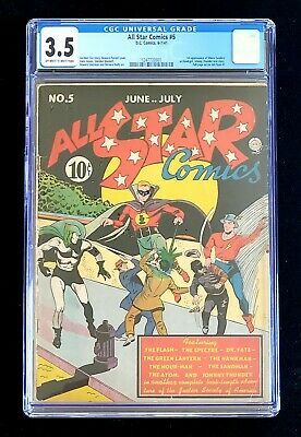 All Star Comics 5 Cgc 3.5 1941 First Appearance Of Shiera Sanders As Hawkgirl