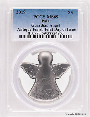 2019 $5 Palau My Guardian Angel 1oz Silver Antique Finish Coin PCGS MS69 - FDI
