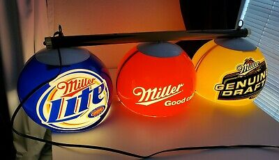 Miller MGD  Beer Miller Lite Pool Table Bar Light Year 2006 Plastic Globes