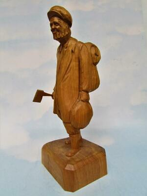 Returning Woodworker Antique Wood Sculpture From Quebec Artist Paul E. Caron