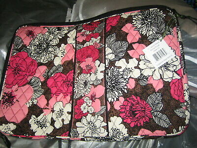 """$45 Vera Bradley Quilted Laptop Sleeve In Pink Brown Flowers For Size 17"""""""