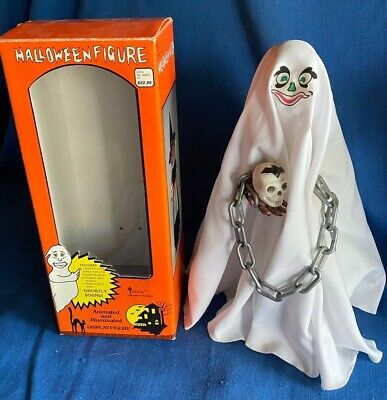 Vintage Telco Animated Ghost Halloween Motionette Figure w/Skull Woolworth & Box
