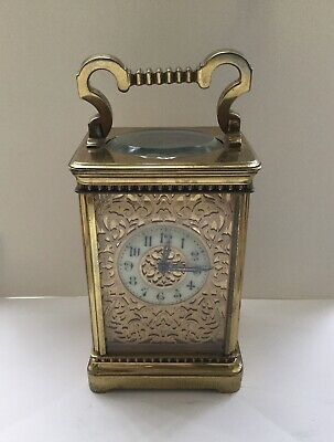Antique Brass Carriage Mantle Clock Wind Up Striking Nice Heavy No Key With It