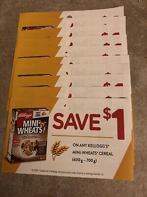 10 Coupons X Save $1 on any Kellogg's Mini-Wheats cereal (400g-700g)