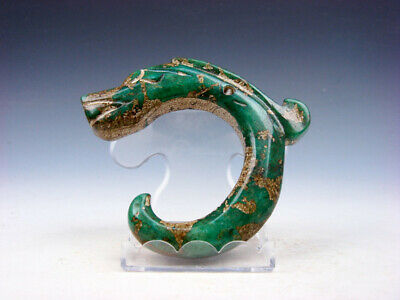 Old Nephrite Jade Carved HongShan Culture Sculpture C Shape Dragon #04042015