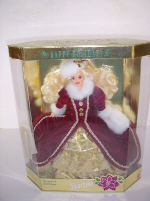 Happy Holidays Barbie Doll, Blonde, #15646, Mattel 1996, Nib, Super Condition!