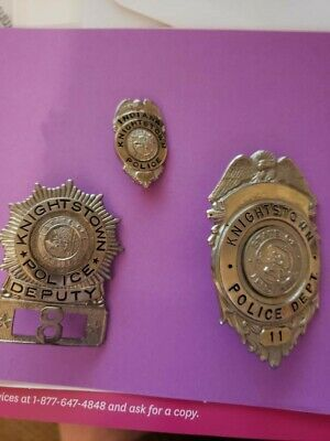 Antique Knightstown Police Department Indiana Badges 3 Total Badges. Very Rare!!