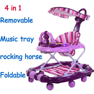 4in1 Baby Walker First Steps Push Along Bouncer Activity Music Melody Toy Purple