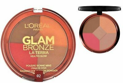 L'OREAL 6g Glam Bronze FACE BRONZER Pressed Powder Compact HIGHLIGHTER Blusher