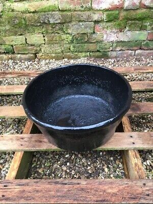 Lovely Old Cast Iron Feed Bowl With Globe Name On It