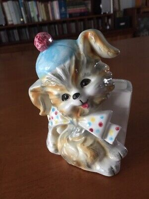 """Puppy (New baby) planter Vintage Hand Painted (holes for hanging) 5 1/2"""" tall"""