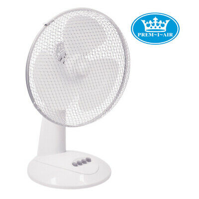 "Prem-I-Air 12"" Premium Quality (30 cm) White Oscillating Desktop Fan 3-Speed"