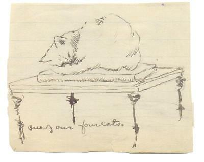 FREDERIC REMINGTON drawing on a 3.5x4 slip of paper of his cat. Mueller COA