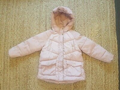 Zara Girls Light Pink Winter Coat Hooded Puffy Jacket Lined Size 9 years 134 cm