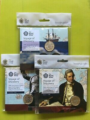 Captain Cook 2018 2019 2020 £2 Two Pound Coin Set. BU Royal Mint. Sealed Packs