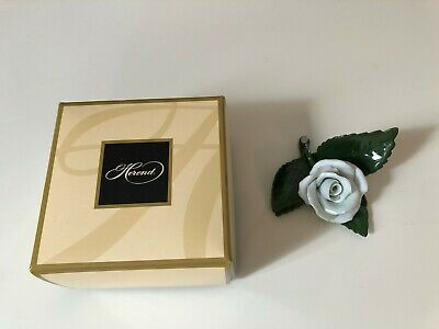 New Herend of Hungary, Hand Painted White Rose Collectible in Original Box