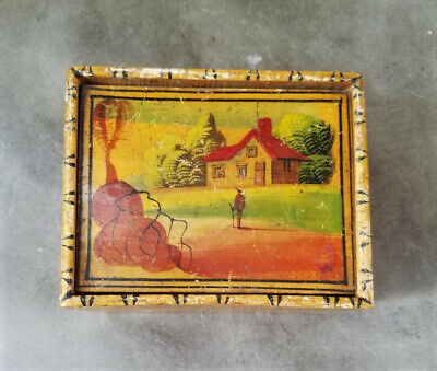Vintage Folk Art Painted Country Scene on Small Trinket Box w/ Hinged Lid