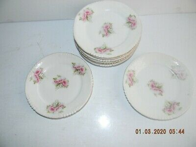 Bavaria china set of 7 dessert dishes vintage rose with gold rim