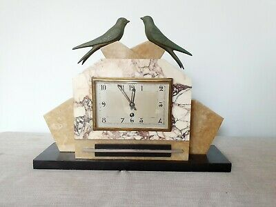 STUNNING 1930s FRENCH ART DECO MARBLE & SPELTER SWALLOWS MANTLE CLOCK WORKING