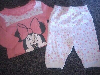 Baby Girls Minnie Mouse Pyjamas 0-3 Months Excellent Condition