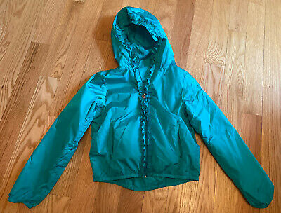 Moncler Rain Jacket. Girls, Kids. Green With Ruffles On The Front, Hood. Size 14